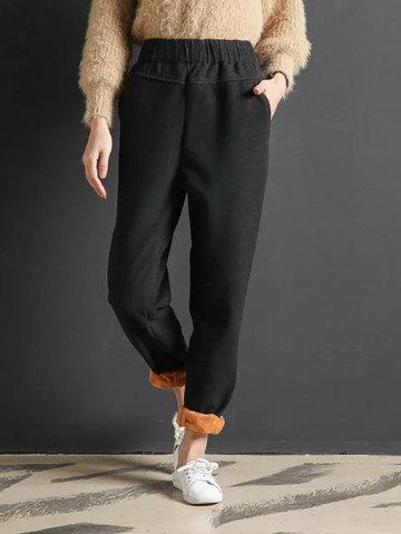 Velvet Thicken Elastic Waist Winter Pants-Newchic-