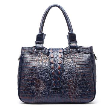 Vintage Alligatior Pattern Cowhide Leather Handbag-Newchic-