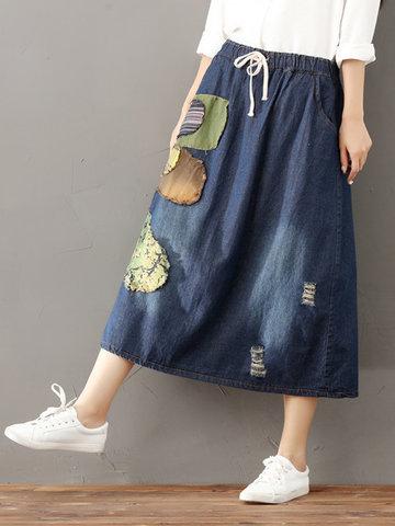 Vintage Elastic Waist Patch Denim Skirts For Women-Newchic-