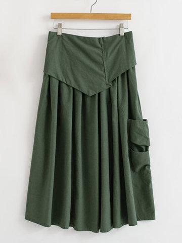 Vintage Elastic Waist Pocket Skirts For Women-Newchic-