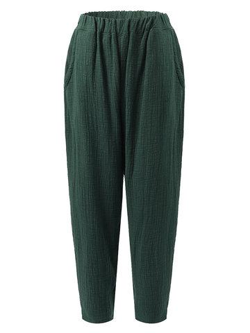 Vintage Elastic Waist Pure Color Pants-Newchic-