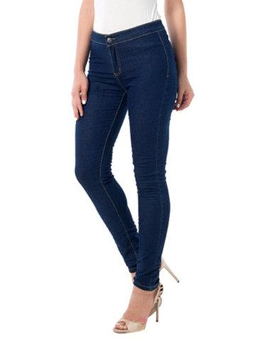 Vintage Elastic Zipper Jeans-Newchic-