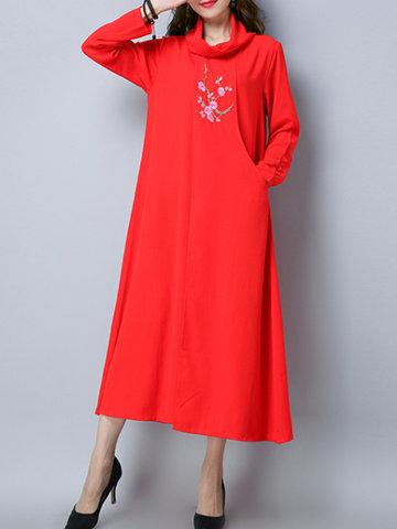 Vintage Embriodery Women Chiffon Dresses-Newchic-