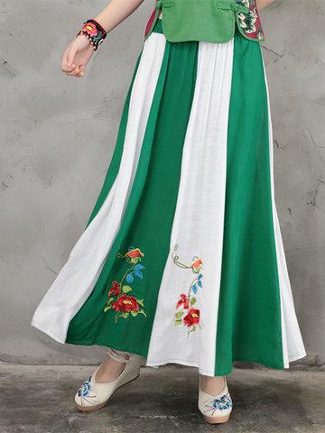 Vintage Embroidered Elastic Waist Patchwork Women Skirts-Newchic-