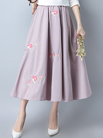 Vintage Embroidery Elastic Waist Pink Skirt For Women-Newchic-