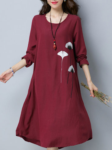Vintage Embroidery Irregular Women Dresses-Newchic-