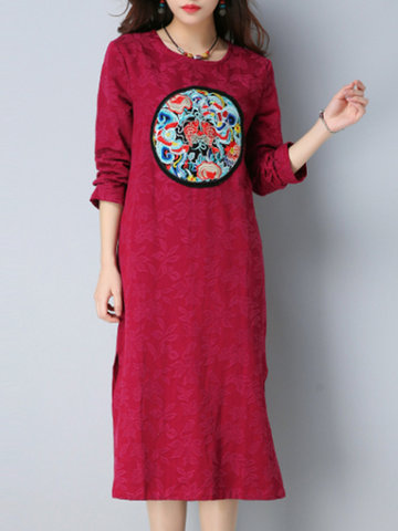 Vintage Embroidery Jacquard O-neck Dresses-Newchic-