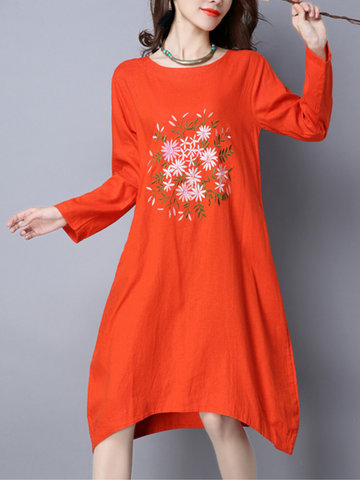 Vintage Embroidery Pocket Dress-Newchic-