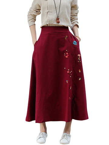 Vintage Embroidery Pockets Women Skirts-Newchic-