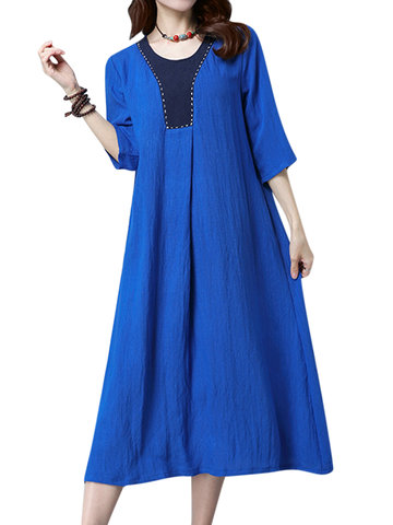 Vintage Embroidery Splicing Pure Color Dress For Women-Newchic-