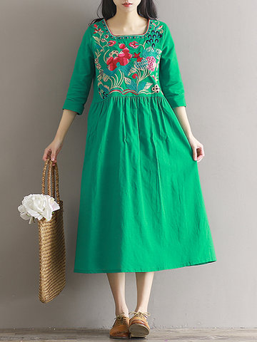 Vintage Embroidery Square Collar Dress-Newchic-