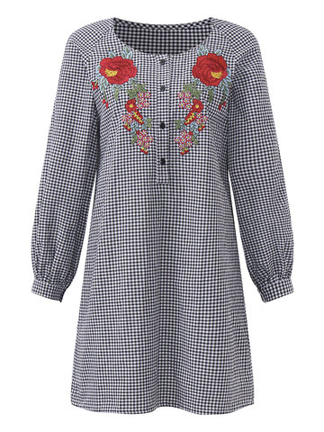 Vintage Embroidery Women Plaid Dresses-Newchic-