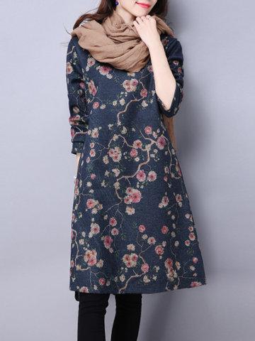 Vintage Ethnic Thicken Print Dresses-Newchic-