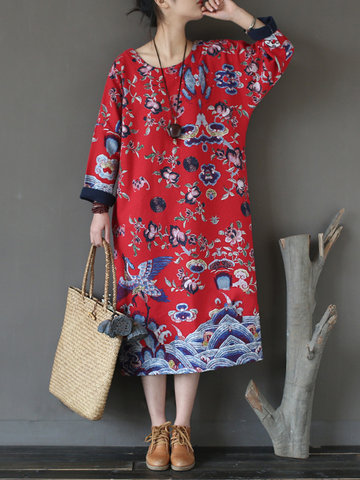 Vintage Floral Print Long Sleeve O-neck Mid-long Dresses For Women-Newchic-