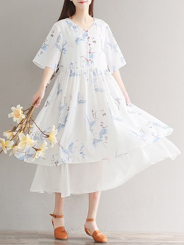 Vintage Floral Print Women Dress-Newchic-