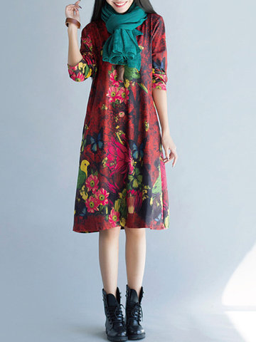 Vintage Floral Printed Long Sleeves O Neck Thicker Dresses-Newchic-