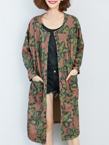 Vintage Floral Printed Shawl Coat-Newchic-