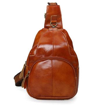 Vintage Genuine Leather Crossbody Bag Women Chest Bag Shoulder Bag-Newchic-