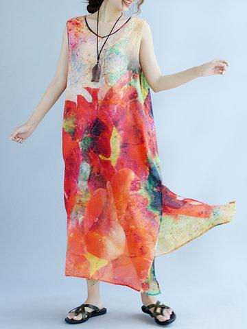 Vintage Ink Printed Sleeveless O-Neck Long Maxi Dresses-Newchic-