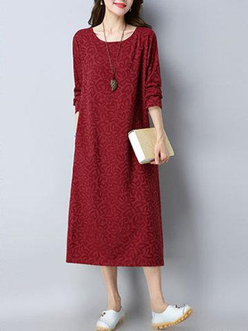 Vintage Jacquard Mid-Long Dresses-Newchic-