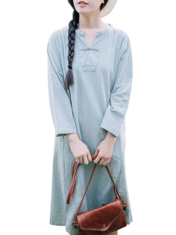 Vintage Long Sleeve Pure Color Plate Buckle Dresses For Women-Newchic-