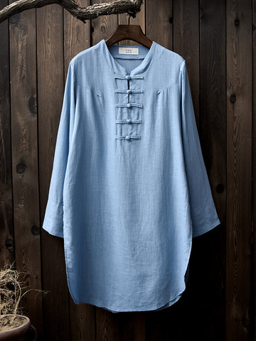 Vintage Long Sleeves ChineseButton Pure Color Shirt Dress-Newchic-