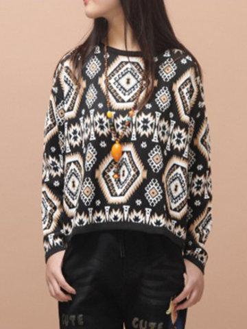 Vintage Loose Printed Women Sweaters-Newchic-