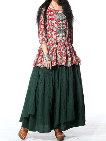 Vintage Loose Solid Color Elastic Waist Asymmetrical Women Long Skirts-Newchic-