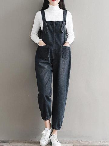 Vintage Loose Strap Pocket Denim Jumpsuits-Newchic-