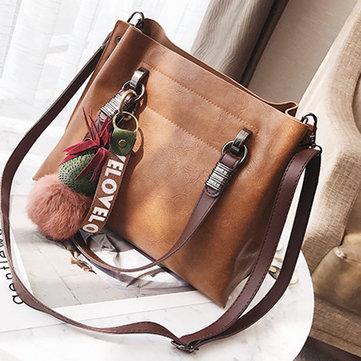 Vintage Oil Leather Handbag-Newchic-
