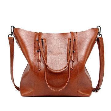 Vintage Oil PU Leather Handbag Large Capacity Shoulder Bag Crossbody Bag-Newchic-