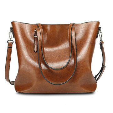 Vintage Oil PU Leather Large Capacity Handbags Shoulder Bag-Newchic-