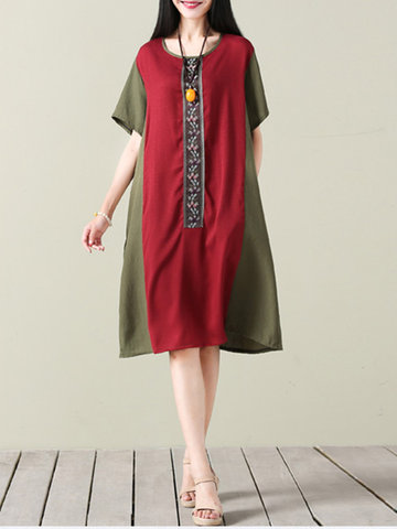 Vintage Patchwork Short Sleeve Pokcet Loose Women Dresses-Newchic-