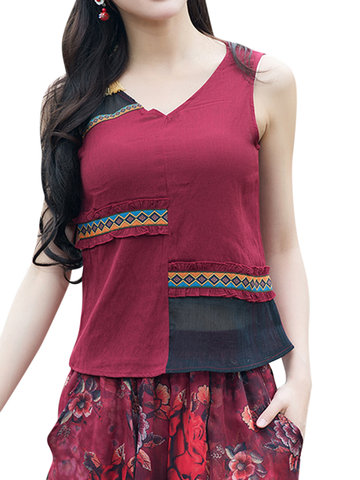 Vintage Patchwork Sleeveless V-Neck Women Tank Tops-Newchic-