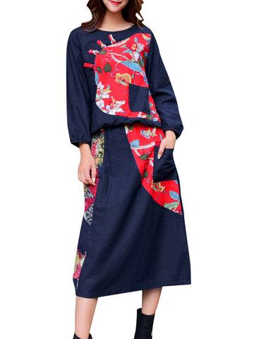 Vintage Patchwork Women Suits-Newchic-