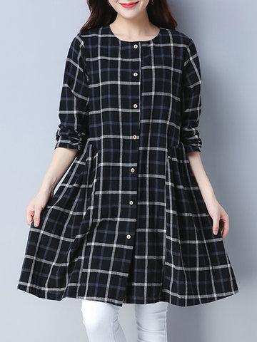 Vintage Plaid Long Sleeve Blouses-Newchic-