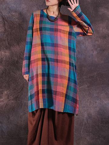Vintage Plaid Long Sleeve Dresses-Newchic-