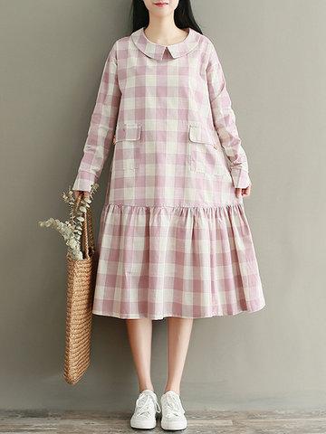 Vintage Plaid Patchwork Loose Dresses-Newchic-