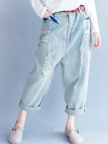 Vintage Pocket Holes Denim Pants-Newchic-