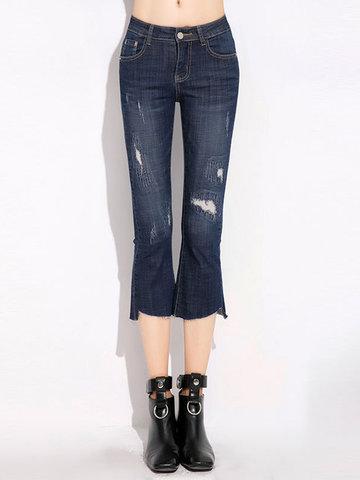 Vintage Pocket Holes Irregular Jeans For Women-Newchic-