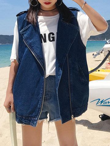 Vintage Pocket Navy Denim Jackets-Newchic-