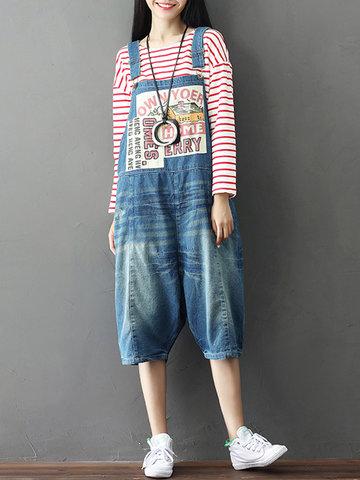 Vintage Pocket Strap Printed Short Denim Jumpsuits For Women-Newchic-