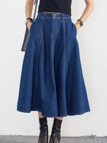 Vintage Pocket Zipper Denim Skirts-Newchic-