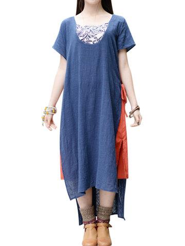 Vintage Print Patchwork Tie Short Sleeve O-neck Dress For Women-Newchic-