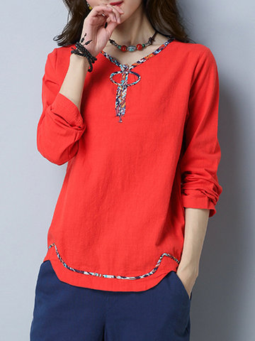 Vintage Printed Lines V-neck Shirts For Women-Newchic-