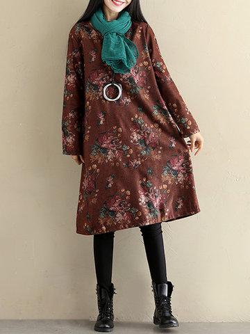 Vintage Printed Long Sleeves Dress-Newchic-