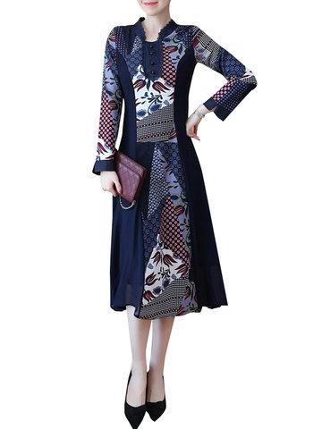 Vintage Printed Women Dresses-Newchic-