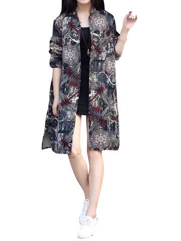 Vintage Printed Women Long Coats-Newchic-
