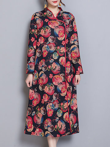 Vintage Printed Women Thick Dresses-Newchic-