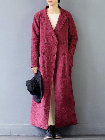 Vintage Pure Color Double Button Women Coats-Newchic-